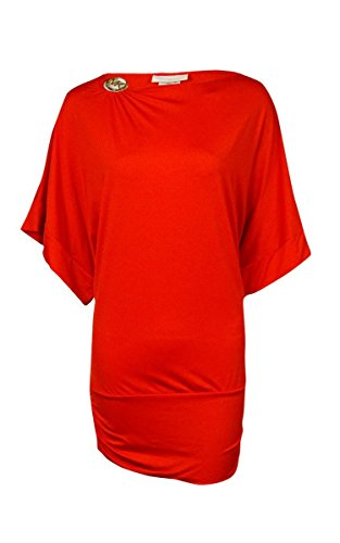 Michael Michael Kors Logo Boat-Neck Banded Cover Up Women's Swimsuit Orange xs/s