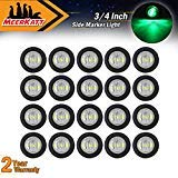 Pack of 20 Meerkatt 3//4 Inch Mini Round Clear Lens Amber LED Button Mount Clearance Lamp Waterproof Side Marker Indicator Light rubber grommets Ship RV Trailer Tow Truck Bus Lorry 12V DC Universal