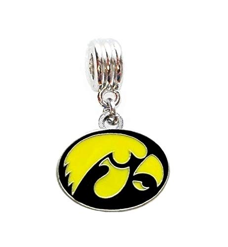 Heavens Jewelry University of Iowa Hawkeyes Team Charm Slider Pendant for Your Necklace European Charm Bracelet (Fits Most Name Brands) DIY Projects ETC