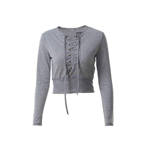 Fashion Automne Pulls Creux Shirts Longues Crop Jumpers Tee et Femme Bandage Gris Printemps T Hauts Manches Slim Tops Blouse Bn7gwP1q5