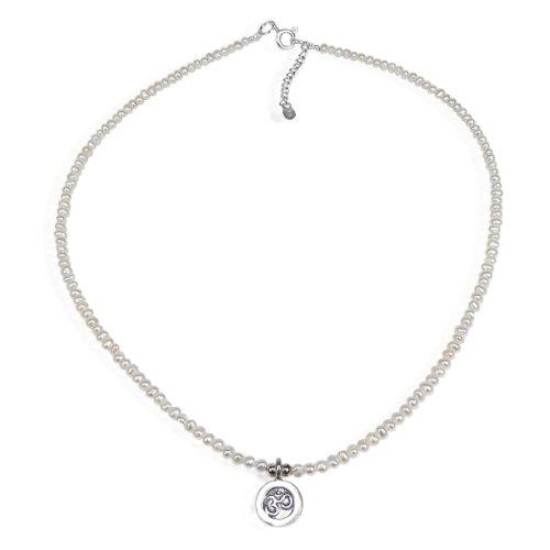Thai Karen Hill Tribe Silver Aum/Om Medallion Cultured Freshwater Pearl (Karen Hill Tribe Silver 4mm)