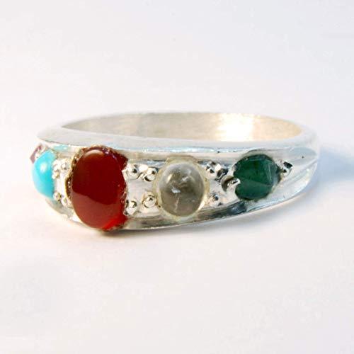 (Multi Stone Handmade Persian Ring | AlAliGems | Ruby Emerald Agate Quartz Turquoise | Silver 925 | US SIZE 7.5)