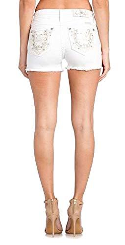 Miss Me Women's Frayed Horseshoe Shorts in White White 28 3