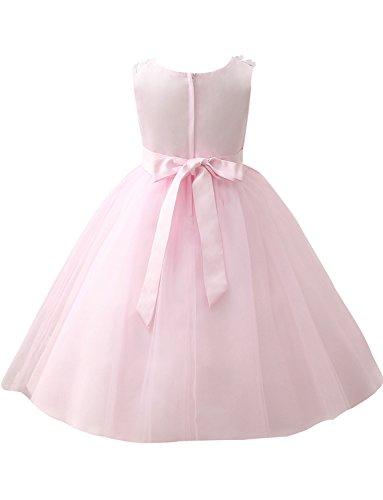 Bestickt Erosebridal Perlen Applique Blumenmädchenkleid A Linie Kleid Geburtstagsfeier 4EwqrSExf