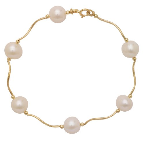 Art and Molly 14k Gold Round White Freshwater Cultured Pearl Station Bracelet (yellow-gold)