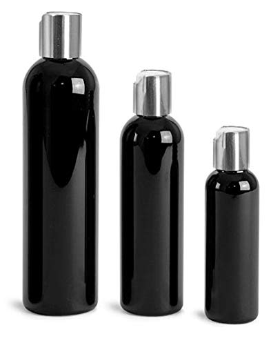 4 Oz. Black Plastic Cosmo Rounds Bottles with Silver Disc Top Caps (24 ()