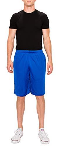 ProGo Athletic Men's Mesh Short with Pockets (X-Large, Royal Blue) (Blue Basketball Shorts)
