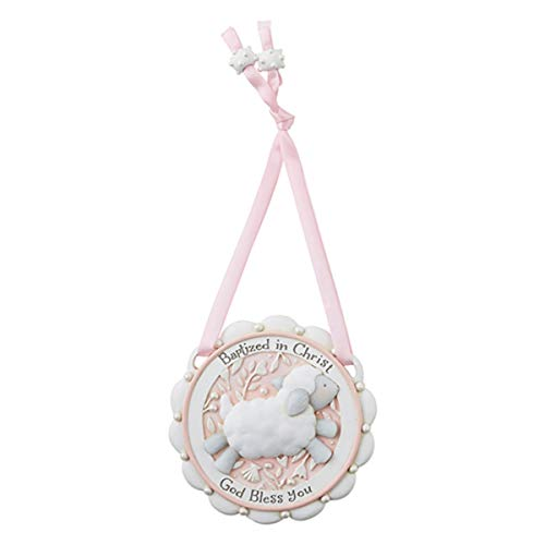 (Baptized in Christ Pink Hanging Religious Crib Medal, 3 1/2 Inch)