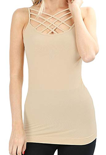 - Re.Born RBWT028_6660 Womens Crisscross Lattice Front Seamless Round Neck Cami Sand LXL