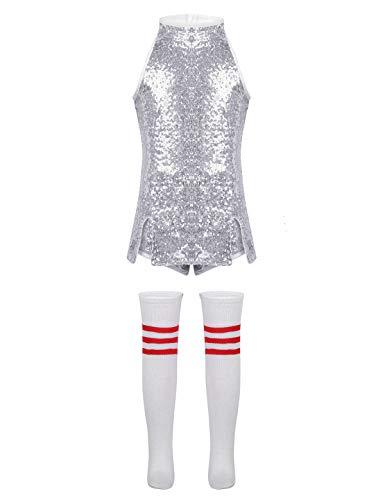 Agoky Kids Girls Metallic Camisole Gymnastics Tank Top Tees Yoga Jazz Hip Hop Performing Costume Silver 10-12 ()
