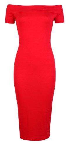 Da donna colore off spalla maniche ad aletta vestito aderente MIDI (S/M (UK 8–10), rosso)