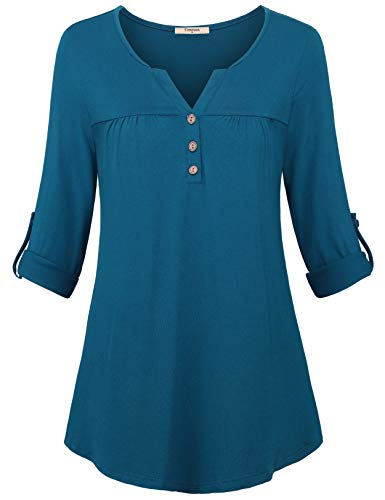 Timeson 3/4 Tunics for Women, Womens Roll Up Sleeve Blouses V Neck...