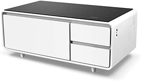 Sobro SOCTB300WHBK Coffee Table with Refrigerator Drawer Bluetooth Speakers, LED Lights, USB Charging Ports for Tablets, Laptops, or a Cell Phone - Perfect for Parties or Entertaining, White