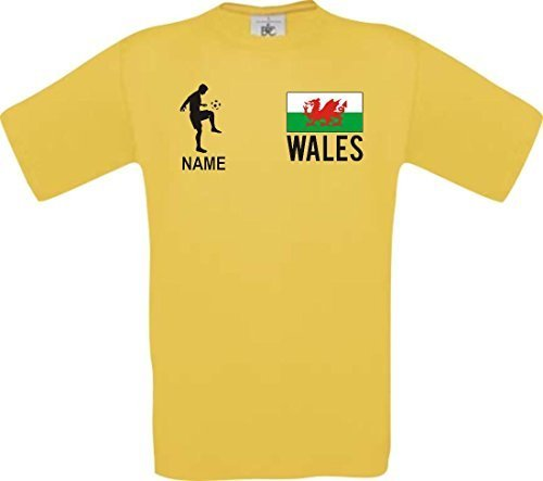 Shirtstown Camiseta De Niño Camiseta de Fútbol Gales con Su Jungen Estampado - Amarillo, 104