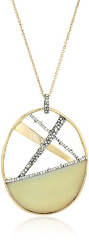 Alexis Bittar Crystal Encrusted Crosshatch Pendant Necklace with Lucite Detail, New Labradorite, One Size ()