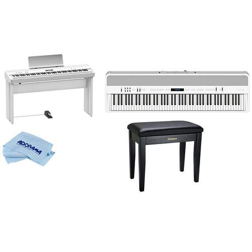Roland Roland FP-90 88 Keys SuperNATURAL Modeling Portable Digital Piano, White + KSC-90 Stand + Piano Bench