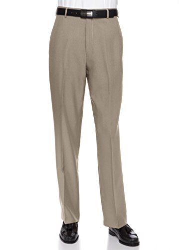 RGM Men's Flat Front Dress Pant Modern Fit - Perfect for Every Day! Tan 42W x 32L