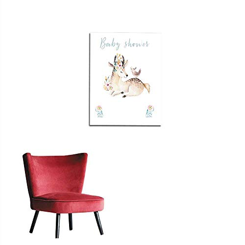 Wall Sticker Decals Cute bohemian baby cartoon deer animal for kindergarten woodland nursery isolated decoration forest illustration for children forest animals pattern Watercolor hand dmural 20