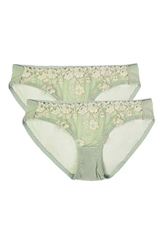 Women's Premium Half Coverage Nylon Floral Lace Bikini Briefs Panty Underwear (2 Pack) (Medium, Light Green)