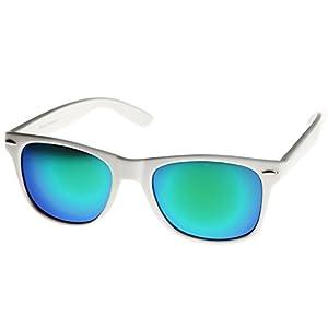 MLC Eyewear Retro Horn Rimmed 80s Mirrored Sunglasses White Frame UV400 Blue Green Lens
