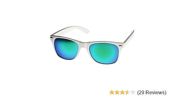 e90de17888d Amazon.com  MLC Eyewear Retro Horn Rimmed 80s Mirrored Sunglasses White  Frame UV400 Blue Green Lens  Clothing