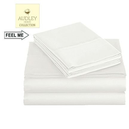 500 Thread Count 100% Long Staple Cotton Sheet Set, Queen Sheets, Luxury Bedding, Queen 4 Piece Set , Smooth Sateen Weave, White, by Audley - Sheet 500 Set