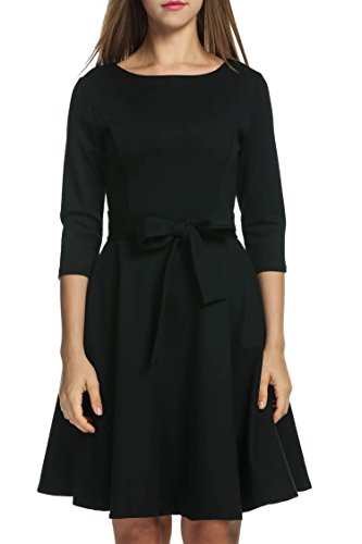 3/4 sleeve black fit and flare dress - 8