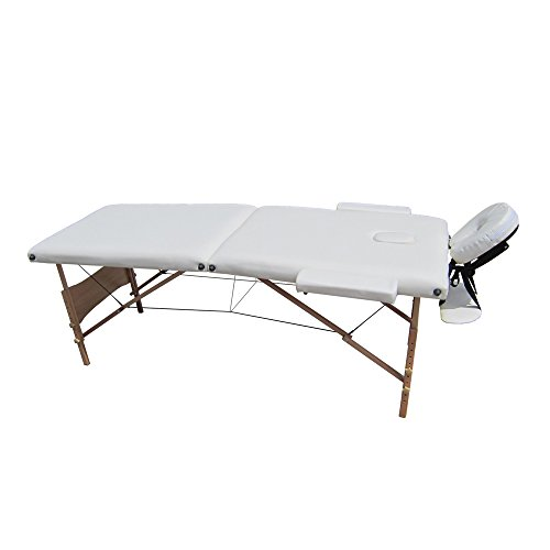 Ireko Cushioned 2 Section Folding Portable Facial Spa Massage Table Bed 82 Inches White