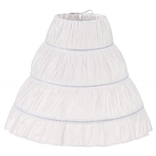 MEITEMEI Girls' 3 Hoops Petticoat Full Slip Flower Girl Crinoline Skirt (White, 7-13 yrs,Length 25.6