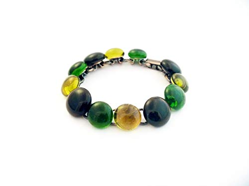 (Recycled wine bottle copper bracelet in green, yellow, brown/Eco-friendly upcycled wine bottle bracelet)