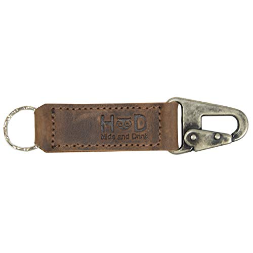Hide & Drink, Leather Key Ring Holder/Keychain Fob/Belt Loop Attachment Handmade Includes 101 Year Warranty :: Bourbon Brown