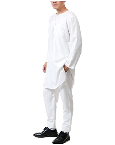 Zimaes Men 2 Piece Set Cotton Islamic Embroidery Muslim Shalwar Kemeez White 52 by Zimaes-Men