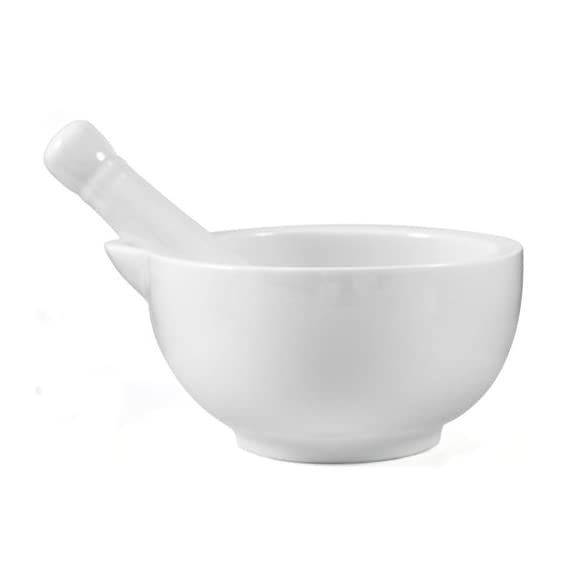 White Porcelain Mortar & Pestle - Choice of Sizes 1 White porcelain mortar & pestle - Choose size Porcelain construction White glazed exterior