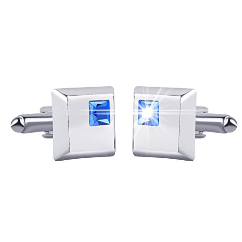Men Simple Generous Alloy Crystal Square Cufflinks Blue Business Gift Shirt Accessories (Italian Square Cufflinks)