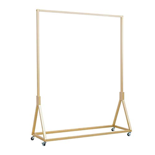 Warm Van Modern Simple Heavy Duty Metal Rolling Garment Rack,Retail Display Clothing Rack,Wrought Iron Single Rod Floor-Standing Hangers Clothes Shelves (Gold Square Tube with Wheels, 47.2 L) ()