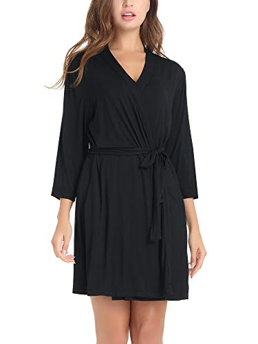 Amorbella Women's Ultra Soft Bamboo Robe Lightweight Bathrobe with Pockets (Black, Small)