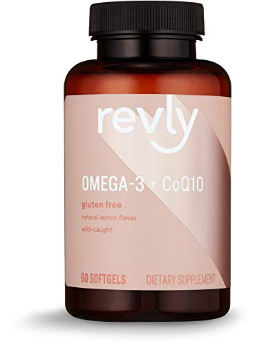Amazon Brand - Revly Omega 3 + CoQ10 with Natural Lemon FLavor, Wild-caught Fish Oil, 60 Softgels, 1250 mg Omega 3s and 100 mg CoQ10 per Serving (2 Softgels)