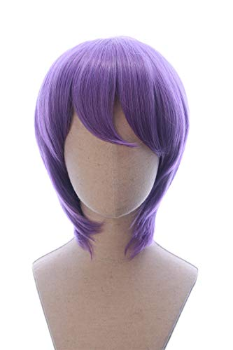 CosplayWigsCom: Atsushi Murasakibara of Kuroko no Basuke Inspired Medium Puple Straight Layered Wig Halloween Japanese Anime Cosplay party Hair for Men and Teens -