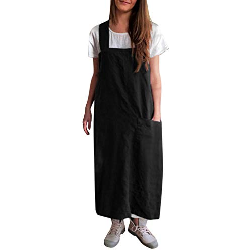 Chef Apron with Front Pockets, Unisex Bib Kitchen Apron, Japanese Style Apron, Soft Cotton Linen Apron, Perfect for DIY Project, Crafting, Cooking, Baking, BBQ