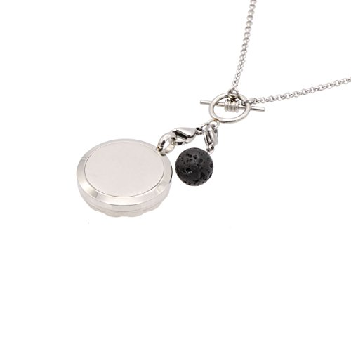 Aromatherapy Essential Oil Diffuser Necklace with Lava Ball Pendant Jewelry Gift for Her-Silver by NewStar (Image #2)