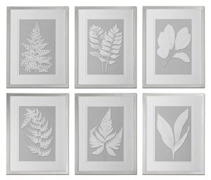 Uttermost 41394 Moonlight Ferns Framed Art (Set of 6), Silver ()