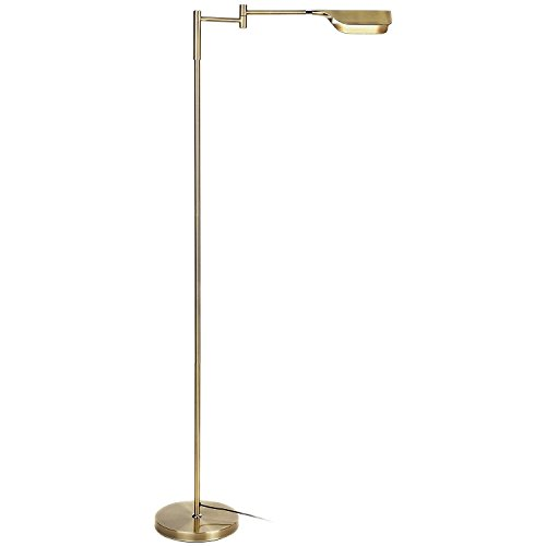 Antique Brass Task Lamp - Brightech Leaf LED Reading and Task Floor Lamp- Dimmable 12.5 Watt LED Standing Pharmacy Lamp Pivoting Head for Living Room Sewing Bedroom Office - Antique Brass