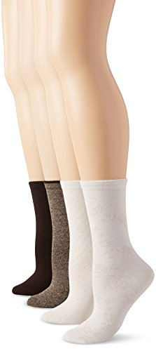 PEDS Women's Assorted Coffee Bean Khaki and Ivory Crew Socks 4 Pairs, Shoe Size/5-10 ()