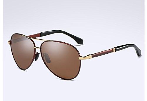 Metal Oro Gafas polarizadas Sunglasses Calidad Lentes Gris Estilo Hombres Negro Gafas Unisex brown HD TL de Alta XxTHUwpqx