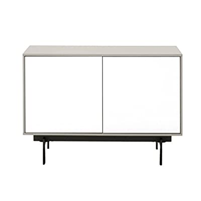Benjara Benzara BM174099 Modular Wooden TV Stand with Sleek Legs, White and Black, One, - Includes: One TV Stand only Features: Push-to-open doors with one shelf inside Back Panel with Pre-Cut Holes for Cord Management - tv-stands, living-room-furniture, living-room - 31HhAB89pcL. SS400  -