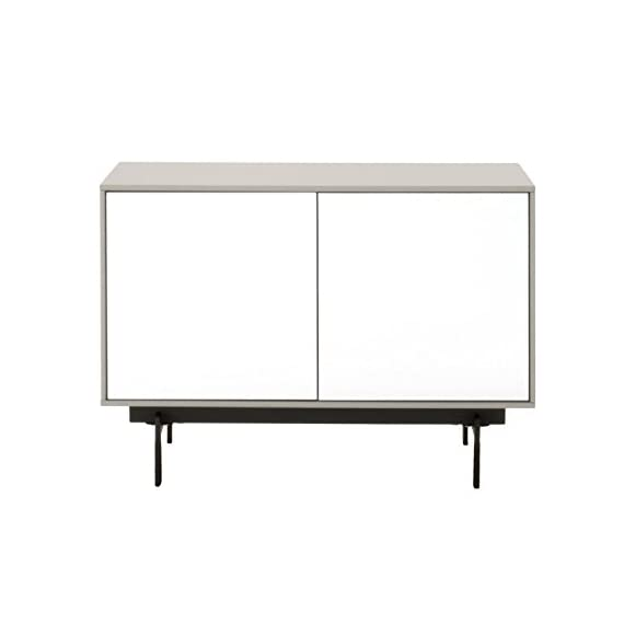 Benjara Benzara Modular Wooden TV Stand with Sleek Legs, White and Black, One, - Includes: One TV Stand only Features: Push-to-open doors with one shelf inside Back Panel with Pre-Cut Holes for Cord Management - tv-stands, living-room-furniture, living-room - 31HhAB89pcL. SS570  -