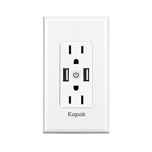 Smart WiFi Wall Outlets Light Switch - Top & Bottom Outlets are Independently Controllable, Works with Alexa Google Assistant IFTTT, No Hub Required,Standard Wall-in 5V/3.4A High Speed USB Charger