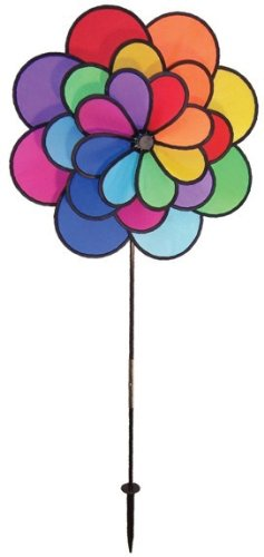 In the Breeze Best Selling Triple Wheel Flower - Ground Stake Included - Colorful Wind Spinner for your Yard or Garden]()