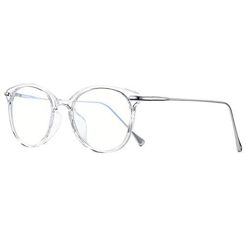 COASION Blue Light Blocking Glasses for Women Vintage Round Anti Blue Ray Computer Game Eyeglasses (Transparent/Silver) (Vintage Circle Frame Gläser)