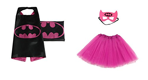 Rush Dance Kids Children's Deluxe Comics Super Hero CAPE & MASK & TUTU Costume (Batgirl (Hot Pink (Superhero Tutu Costumes)